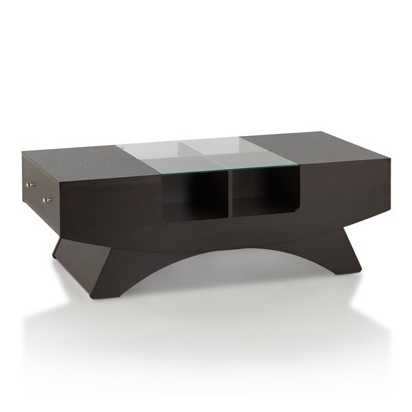 Furniture of america angelic 2 drawer contemporary coffee for Furniture of america architectural inspired dark espresso coffee table