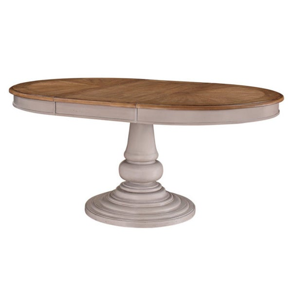 Grey/ Brown Two-tone Round Dinette Table