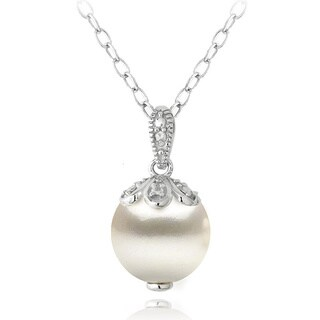 Glitzy Rocks Sterling Silver Diamond Accent Freshwater Cultured Pearl Petals Drop Necklace