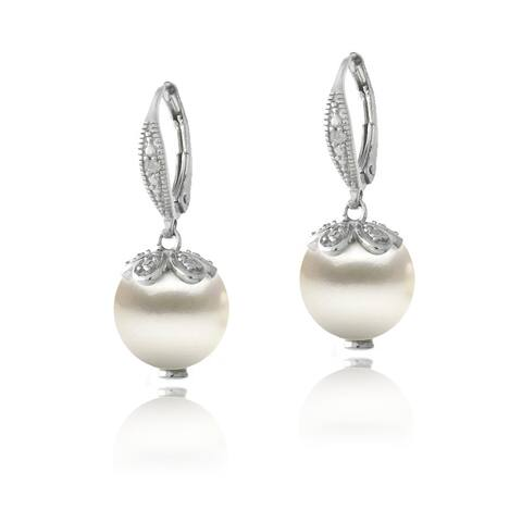 Sterling Silver and Freshwater Pearl Drop Earrings with Diamond Accents (I-J, I2-I3)