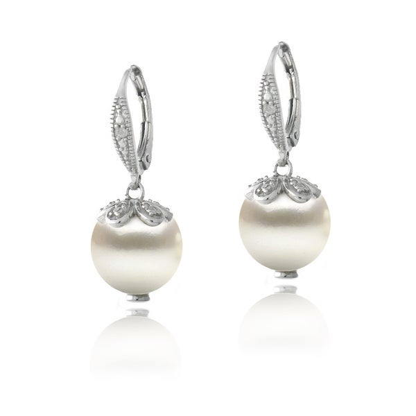 Sterling Silver And Freshwater Pearl Drop Earrings With Diamond Accents I J I2 I3