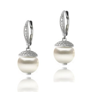 Glitzy Rocks Sterling Silver Diamond Accent Freshwater Cultured Pearl Drop Leverback Earrings