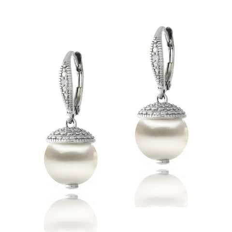 Glitzy Rocks Sterling Silver Diamond Accent Freshwater Cultured Pearl Drop Leverback Earrings