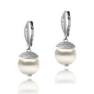 Link to Glitzy Rocks Sterling Silver Diamond Accent Freshwater Cultured Pearl Drop Leverback Earrings Similar Items in Earrings