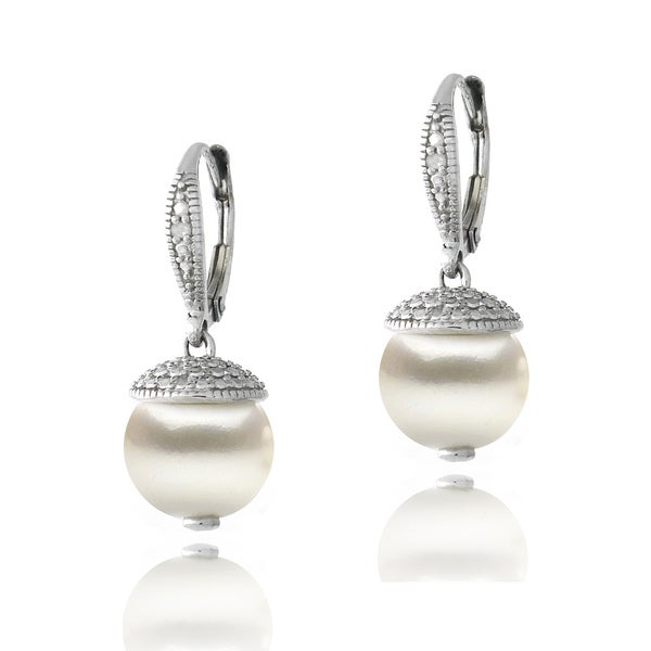 Glitzy Rocks Sterling Silver Diamond Accent Freshwater Cultured Pearl Drop Leverback Earrings. Opens flyout.
