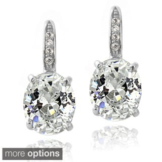Icz Stonez Sterling Silver Cubic Zirconia Oval Leverback Earrings