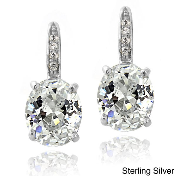 Sterling Silver Cubic Zirconia Prong Set Oval Leverback Earrings zmq9q8