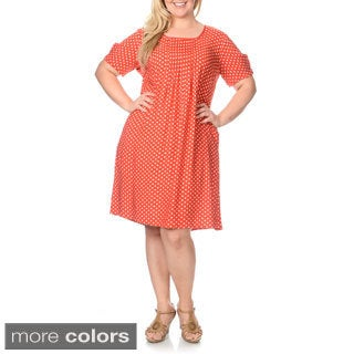 La Cera Women's Plus Size Polka Dot Print Dress