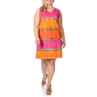 La Cera Women's Plus Size Coral Tie-dye Tank Dress