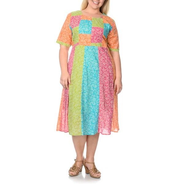 La Cera Womens Plus Size Patchwork Short Sleeve Dress Free