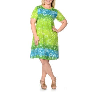 La Cera Women's Plus Size Turquoise/ Lime Large Floral Print Dress