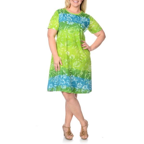 La Cera Women's Plus Size Turquoise/ Lime Large Floral Print Dress