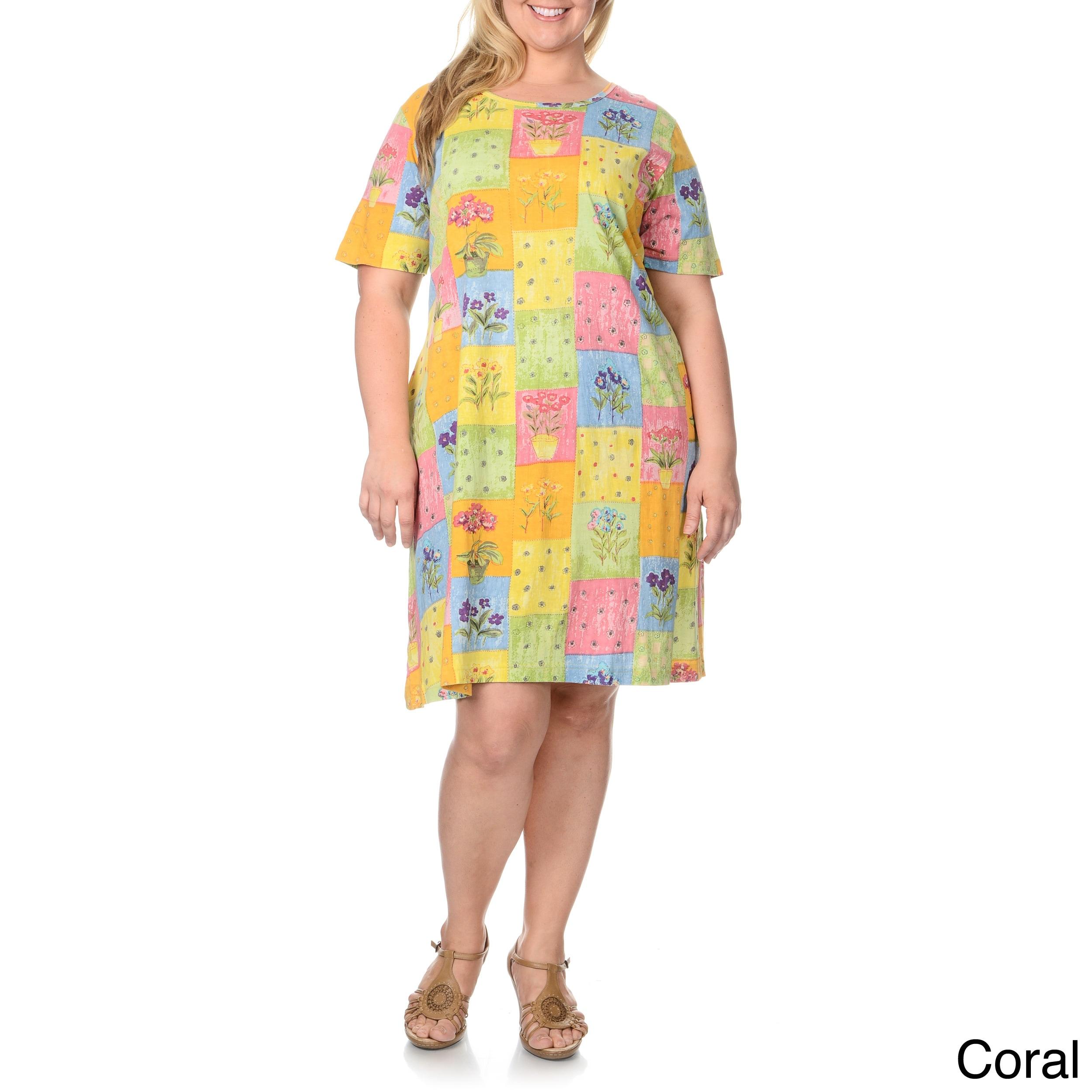 La Cera Women s Plus Size Patchwork Print Dress  21f1d37c2