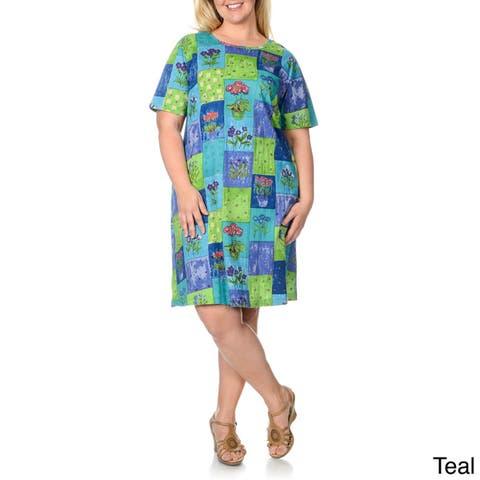 La Cera Women's Plus Size Patchwork Print Dress