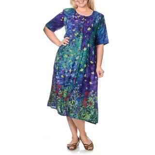 La Cera Women's Plus Size Garden Print Button-front Dress