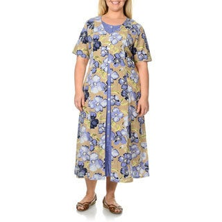 La Cera Women's Plus Size Khaki Floral Print Mock 2-piece Dress