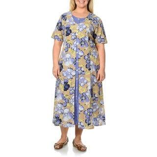 La Cera Women's Plus Size Khaki Floral Print Mock 2-piece Dress