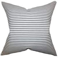 Ferebee Stripes Gray Down Filled Throw Pillow
