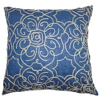 Pam Floral Indigo Down Filled Throw Pillow