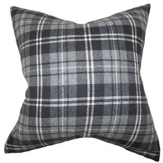 Baxley Plaid Grey Down Filled Throw Pillow