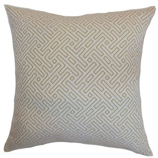 Qalanah Geometric Hayride Down Filled Throw Pillow (20-Inch - Brown/Tan)