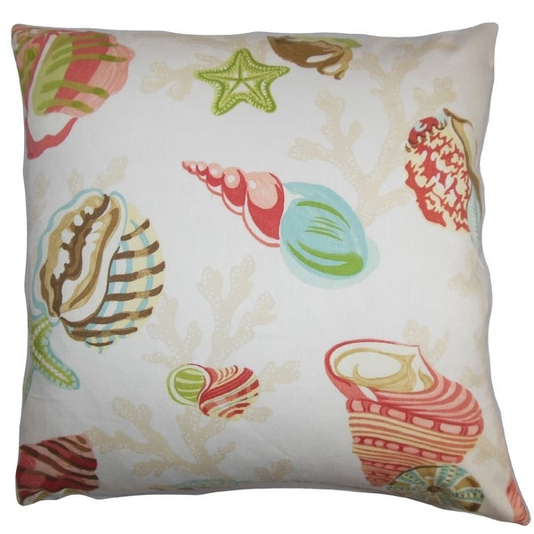Tait Coastal Pink Green Down Filled Throw Pillow