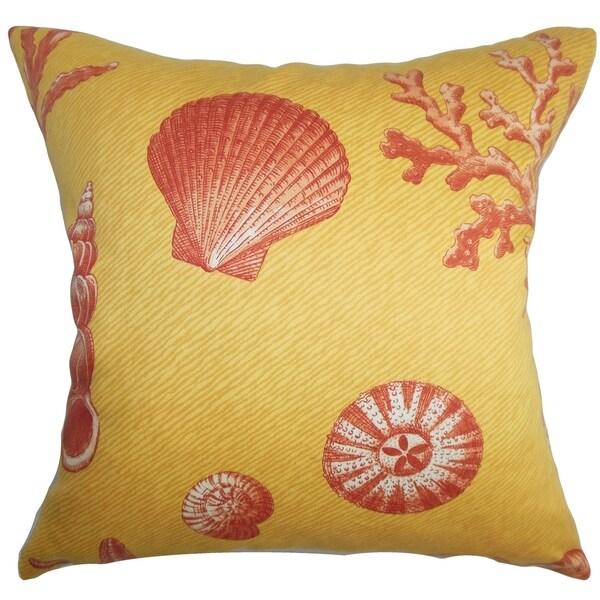 Usha Coastal Yellow Red Down Filled Throw Pillow