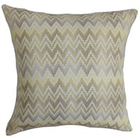 Yanira Zigzag Brown Down Filled Throw Pillow