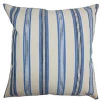 Omer Stripe Blue Down Filled Throw Pillow
