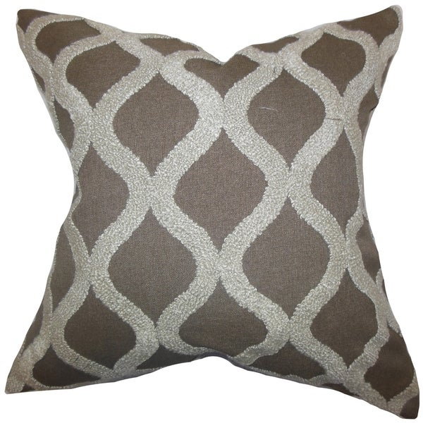 Katell Geometric Brown Down Filled Throw Pillow