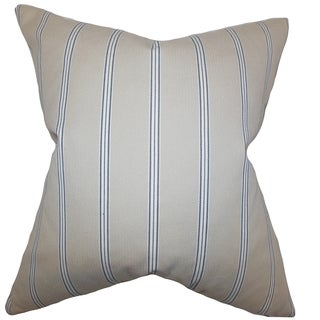 Drusilla Stripes Natural Blue Down Filled Throw Pillow