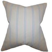 Drusilla Stripes Natural Blue Down Filled Throw Pillow
