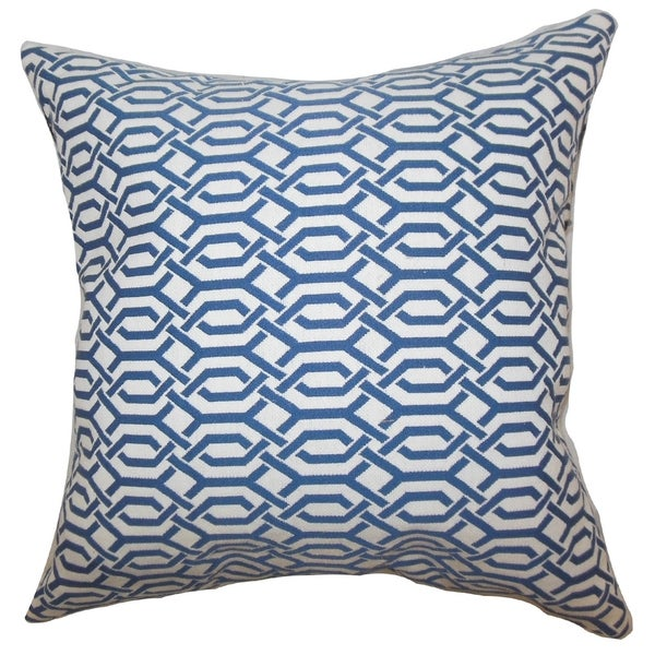 Catriona Geometric Blue Down Filled Throw Pillow