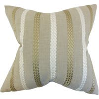 Emese Stripe Burlap Down Filled Throw Pillow