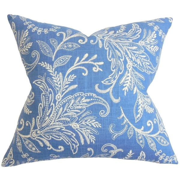 Talila Floral Cobalt Down Filled Throw Pillow