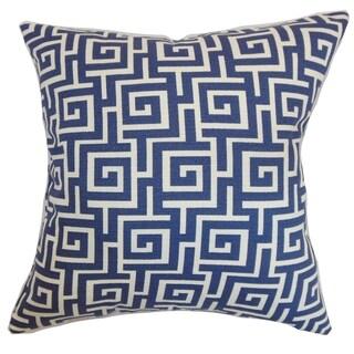 Warder Greek Key Blueberry Down Filled Throw Pillow