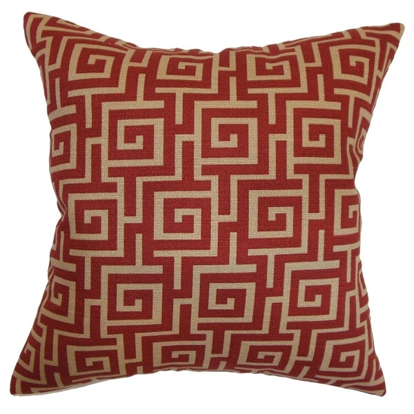 Warder Greek Key Radish Down Filled Throw Pillow