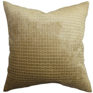 Brielle Solid Brown Down Filled Throw Pillow