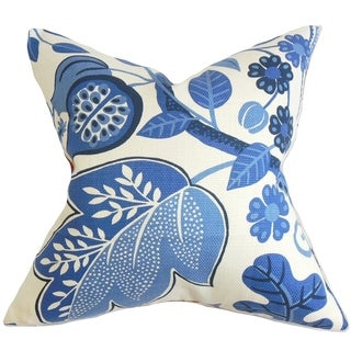 Prys Floral Blue Down Filled Throw Pillow
