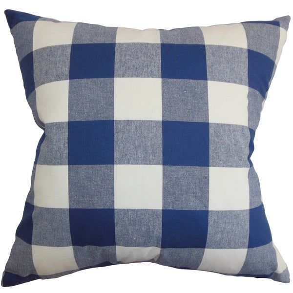 Vedette Blue Plaid Down Filled Throw Pillow