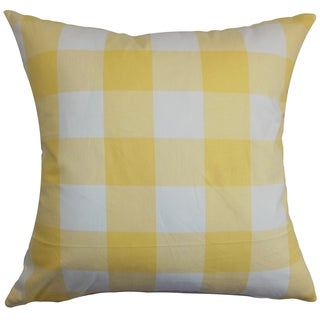 Vedette Yellow Plaid Down Filled Throw Pillow