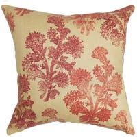 Efterpi Saffron Floral Down Filled Throw Pillow