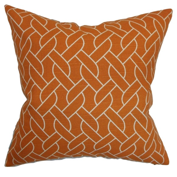 Neptune Mango Geometric Down Filled Throw Pillow