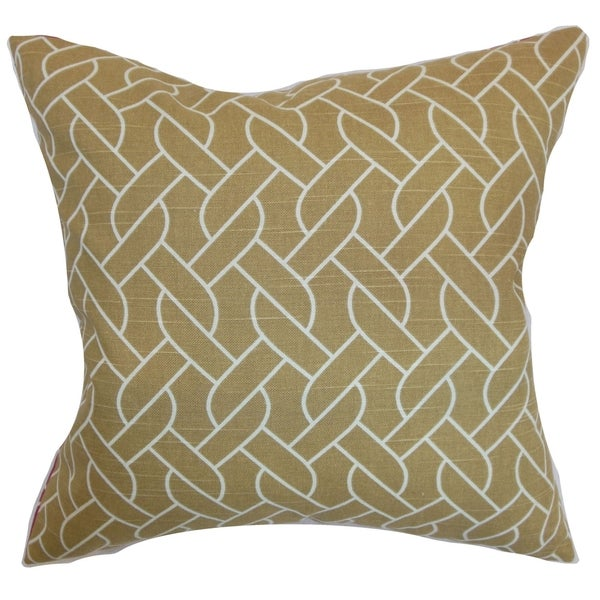 Neptune Camel Geometric Down Filled Throw Pillow