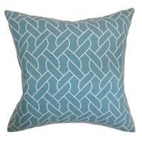 Neptune Aquamarine Geometric Down Filled Throw Pillow