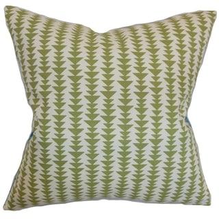 Jiri Green Geometric Down Filled Throw Pillow