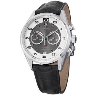 Tag Heuer Men's CAR2B11.FC6235 'Carrera' Silver/Grey Dial Black Strap Watch