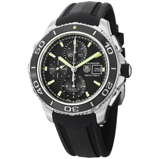 Tag Heuer Men's CAK2111.FT8019 'Aquaracer500' Black Dial Black Rubber Strap Watch