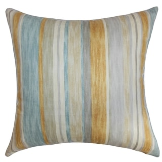Narkeasha Stripes Natural Aqua Feather and Down Filled Throw Pillow