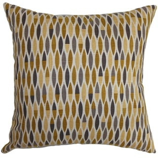 Candie Geometric Gold Feather and Down Filled Throw Pillow